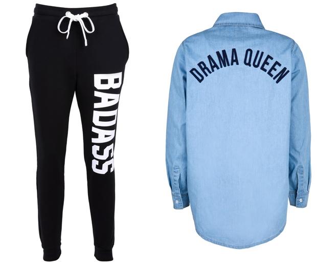 Sweat Pants £35, Denim Shirt £35