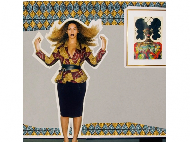 beyonce in a pencil skirt and a patterned peplum blazer