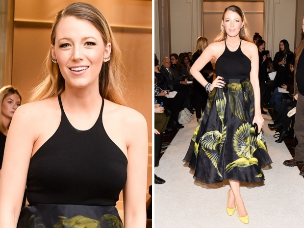 blake lively in yellow shoes at the marchesa show