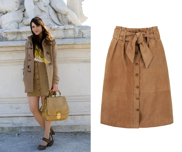 button down suede skirt by massimo dutti and paris street style