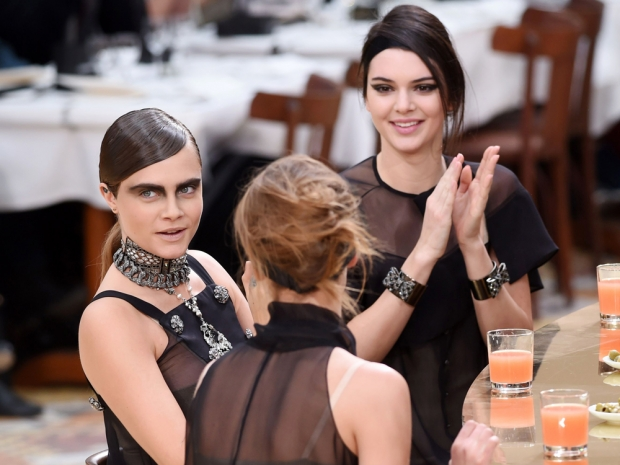 kendall jenner and cara delevingne in chanel aw15 show