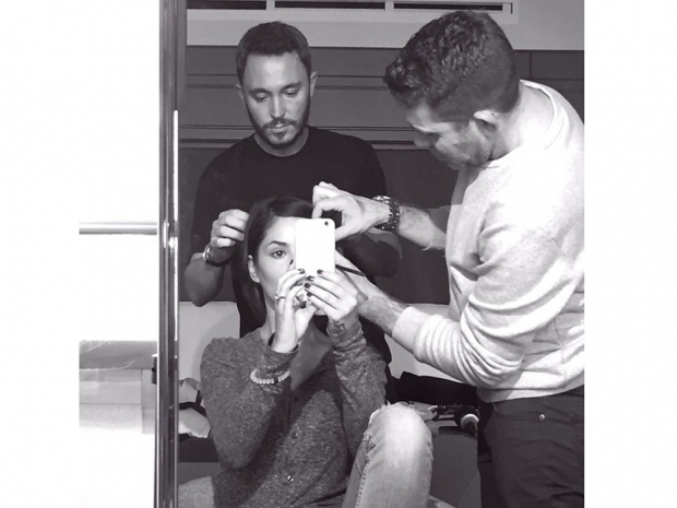 Cheryl Fernandez-Versini getting her glam on before the L'Oreal Paris event
