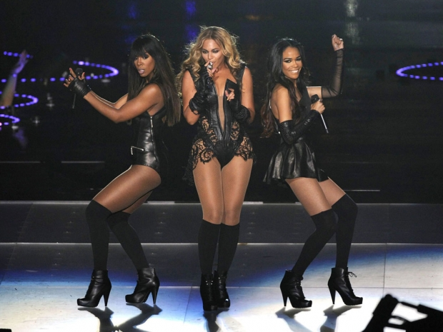 Kelly Rowland, Beyonce Knowles and Michelle Williams at the Superbowl, 2013