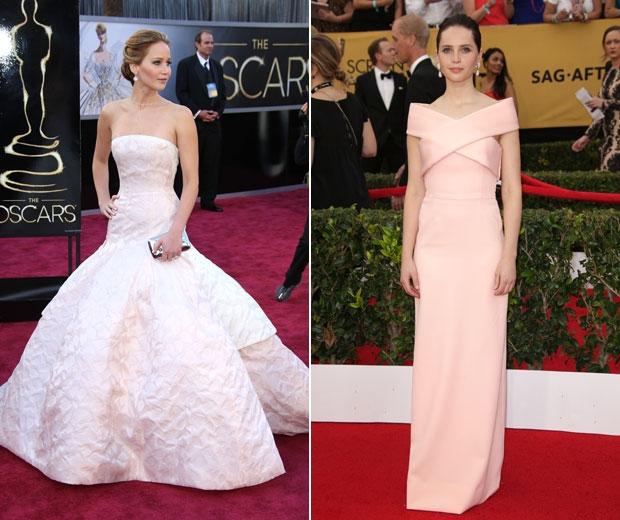 Jennifer Lawrence in Dior and Felicity Jones in Balenciaga