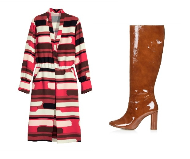 H&M Patterned Dress, £39.99 & Topshop CARRIE Patent High Leg Boots, £130