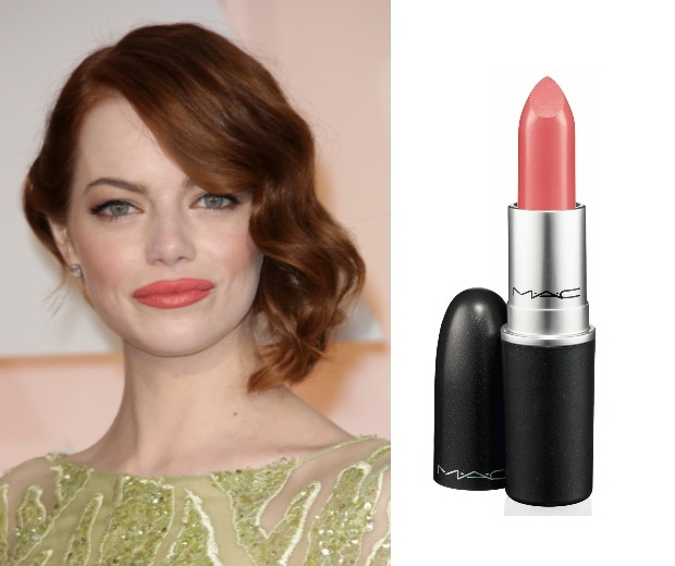 Emma Stone wearing a coral lip and MAC Lipstick in Cosat Chic