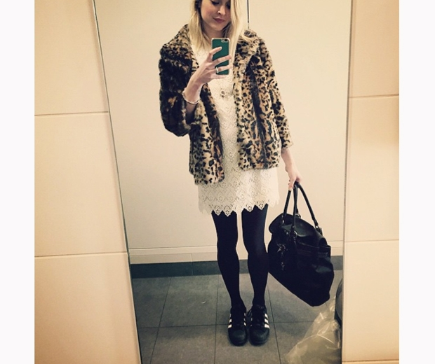 fearne cotton in white lace dress from very and leopard print coat