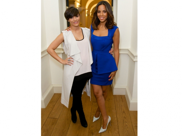 Frankie Bridge and Rochelle Humes at the singer's Very SS15 catwalk show
