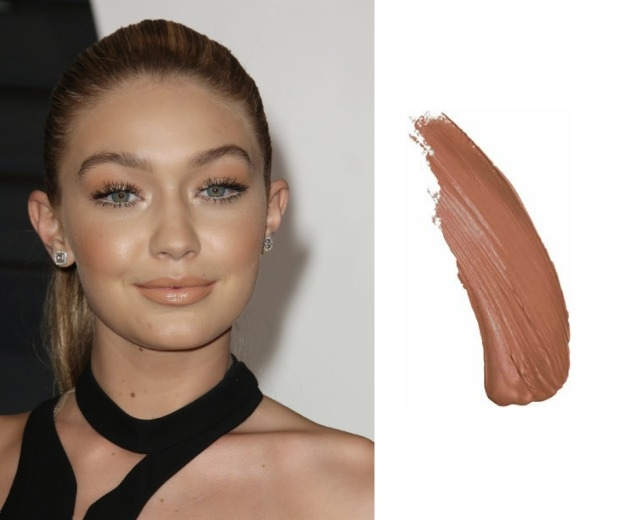 Gigi Hadid wearing a nude lip and mememe Cosmetics in Cherub Blush