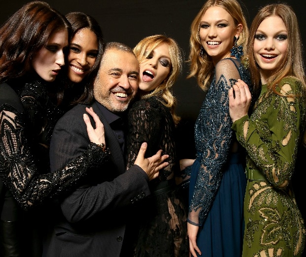 Models with collection designer Elie Saab