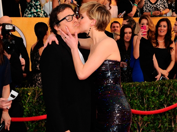 Jennifer Lawrence and David O Russell at the 2014 Screen Actors Guild Awards