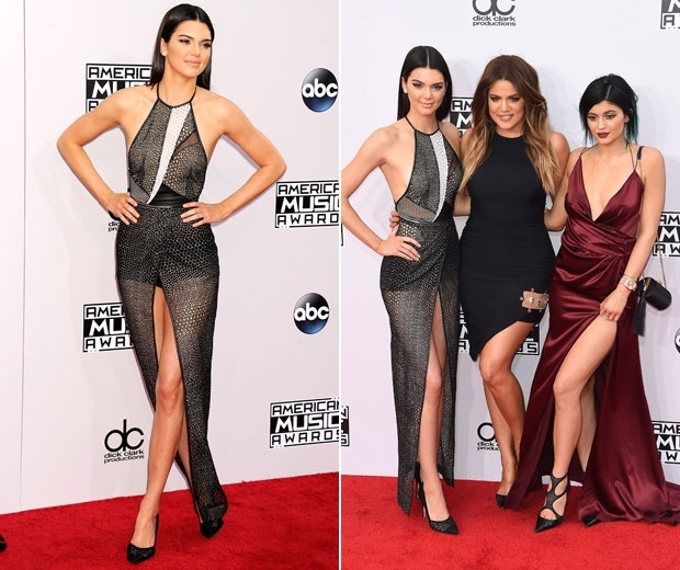 kendall and kylie jenner with khloe kardashian at the amas