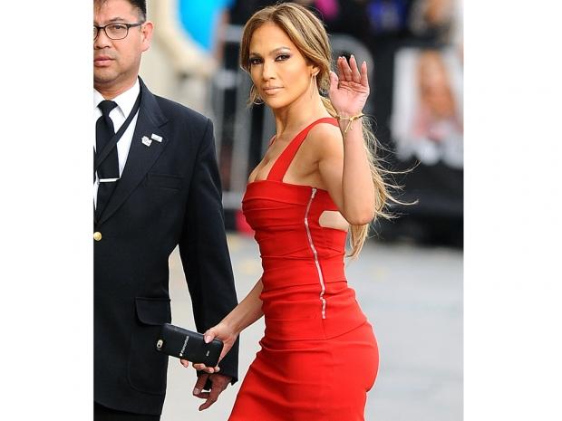 j lo in a red preen dress on jimmy kimmel