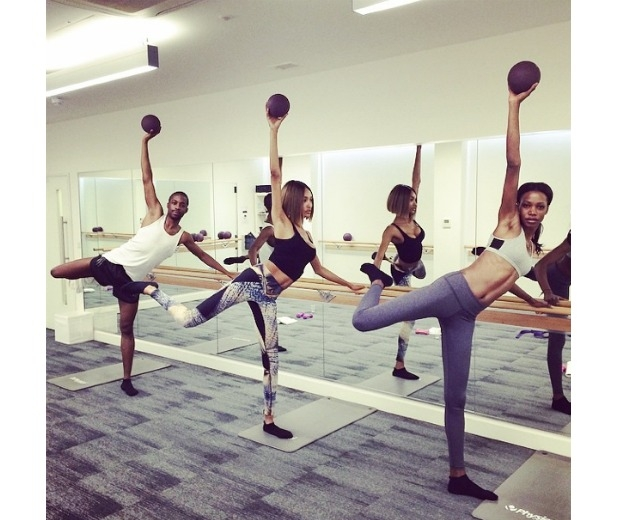 Jourdan Dunn working out at a Barre Core class
