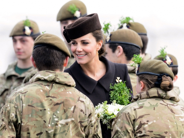 kate middleton in brown catherine walker coat at st patricks day parade