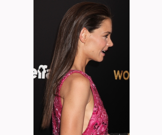 katie holmes with slicked back hair at woman in gold premiere new york