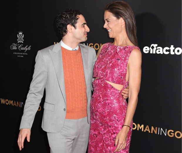 Katie Holmes and Zac Posen having a giggle at the woman in gold premiere