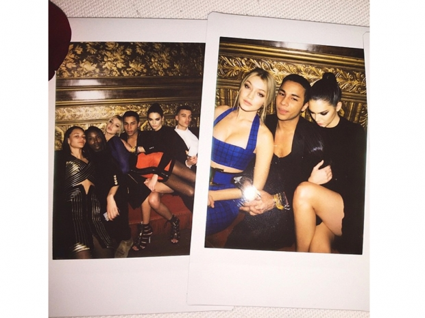 Kendall Jenner, Gigi Hadid and Olivier Rousteing and balmain party