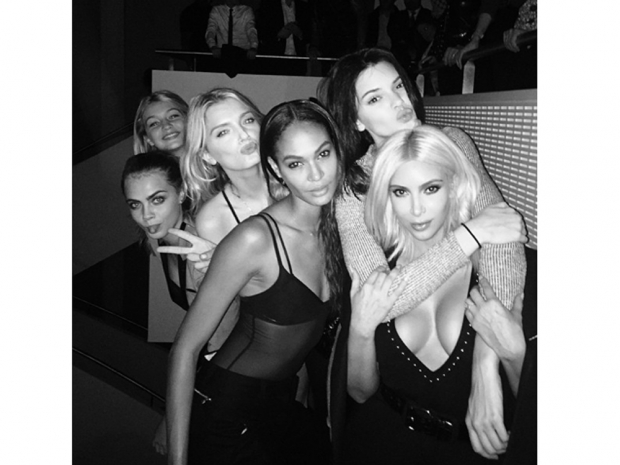 Kendall Jenner, Kim Kardashian, Kendall Jenner and Joan Smalls at kanye west