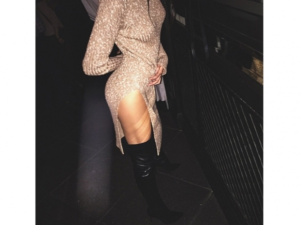 Kendall Jenner in knitted celine dress at Kardashian Beauty party