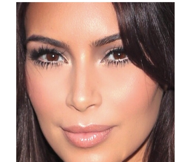 kim kardashian wearing nude eyeliner and mascara