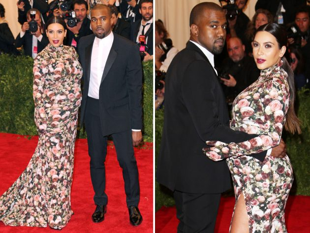 A pregnant Kim Kardashian worked a floral Givenchy dress with matching gloves to the 2013 Met Gala