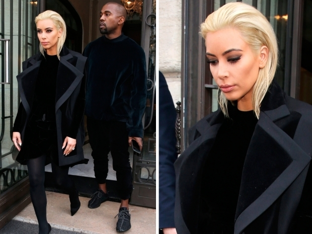 Kim Kardashian first debuted her new ice blonde locks at Paris Fashion Week
