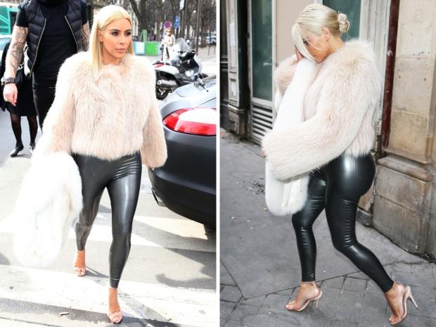 kim kardashian in latex leggings and Manolo Blahnik sandals