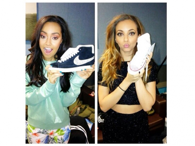 little mix girls modelling funky soles customised trainers