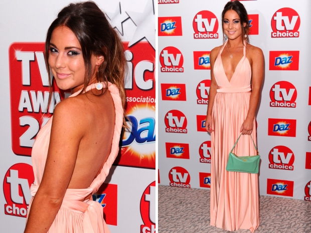 Louise Thompson in a pink dress at the 2013 TV Choice Awards