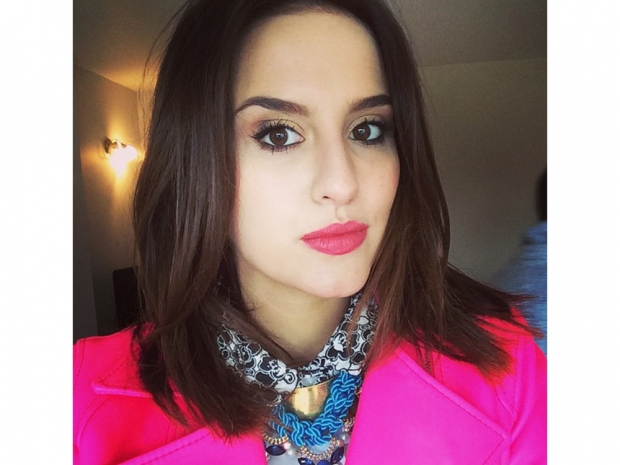 made in chelsea lucy watson in a bright pink coat and short hair