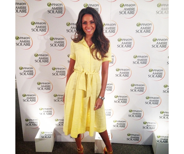 Michelle Keegan in yellow orla kiely dress at garnier event