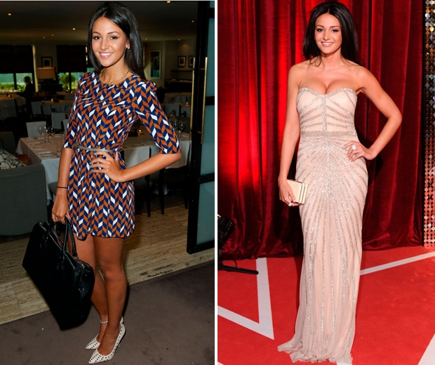 michelle keegan in a red carpet dress and a short purple and red dress