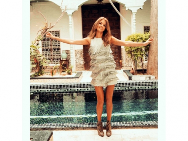 nude tassel dress from Millie Mackintosh's SS15 collection