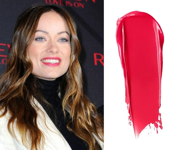 Olivia Wilde with a pink lip and NARS Audacious Lipstick in Grace