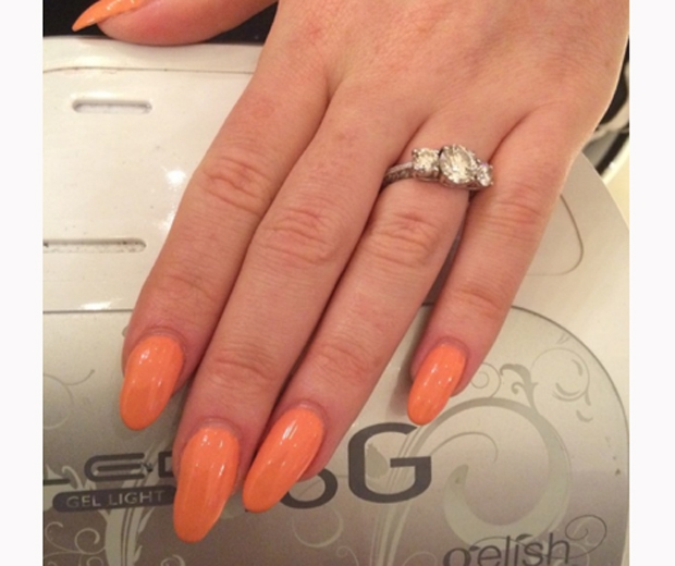 little mix's perrie edwards shows off engagement ring