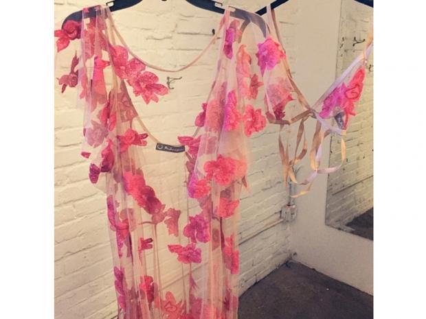 for love and lemons sheer pink dress and bra