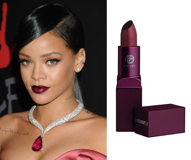 Rihanna with a dark purple lip and By Poppy Lipstick in Bete Noire
