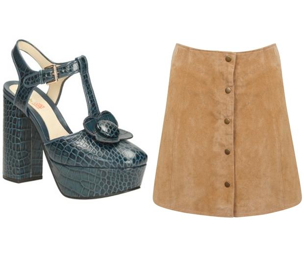 (l-r) Orla Kiely For Clarks, £150, Miss Selfridge Skirt, £65