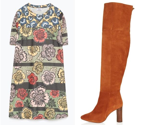 (l-r) Zara Shift Dress, £19.99, Topshop Boots, £130