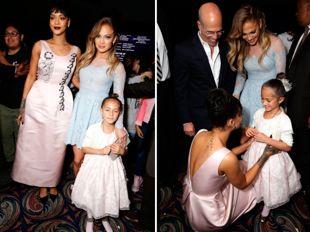 Rihanna was a total natural with J Lo's adorable twins at the Home premiere