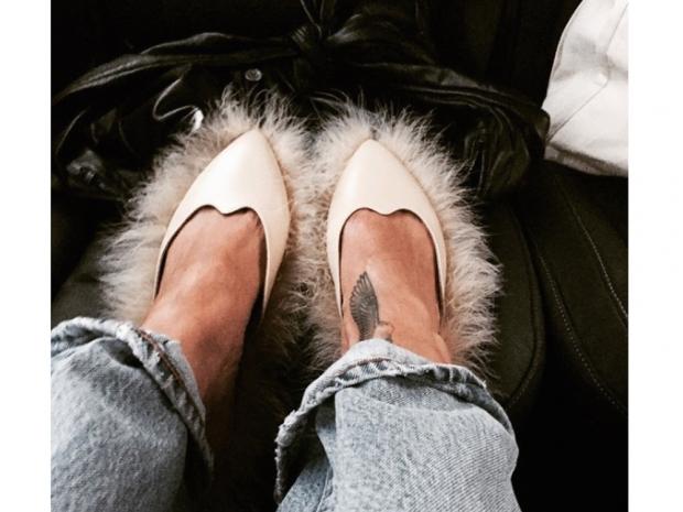 Rihanna uploaded a close up of her furry flats to Instagram, captioned: 'Paris'