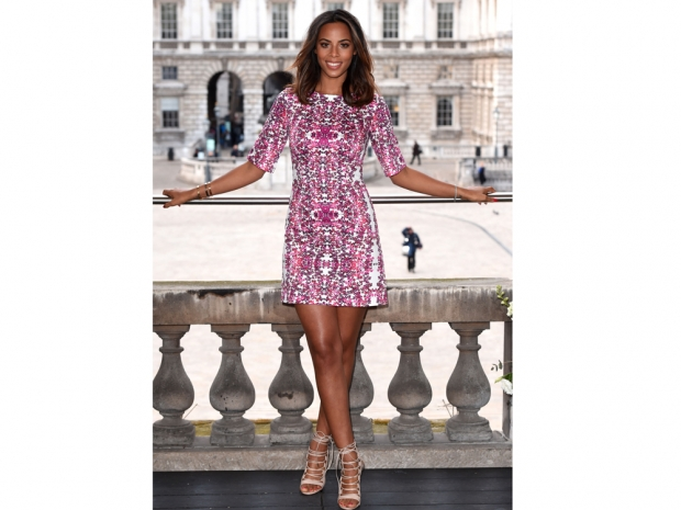 rochelle humes patterned red and white very dress