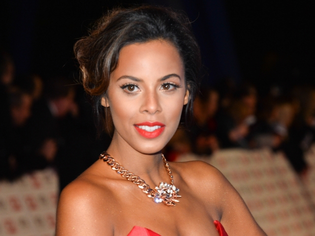 the saturdays rochelle humes in a red carpet dress