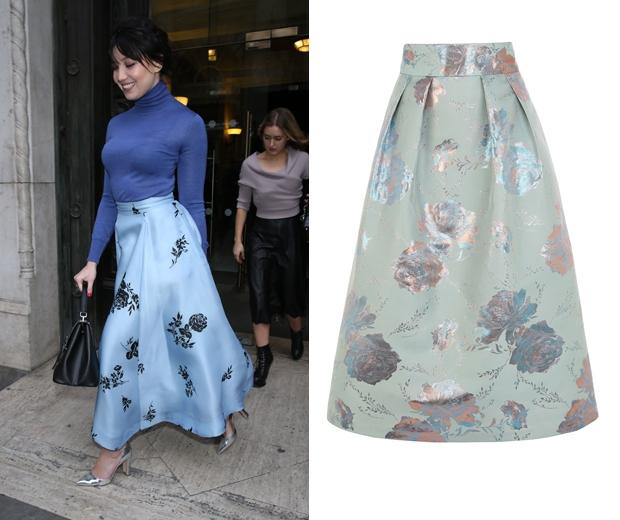 Daisy Lowe's cornflower blue skirt creates the ultimate in feminine looks
