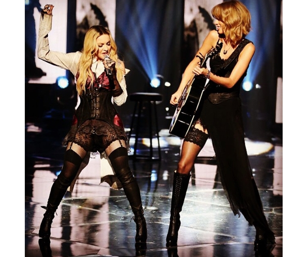 Taylor Swift and Madonna on stage at the iHeartRadio Music Awards