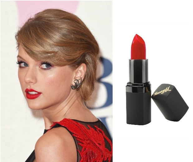 Taylor Swift with a red lip and Barry M Lipstick in shade 121