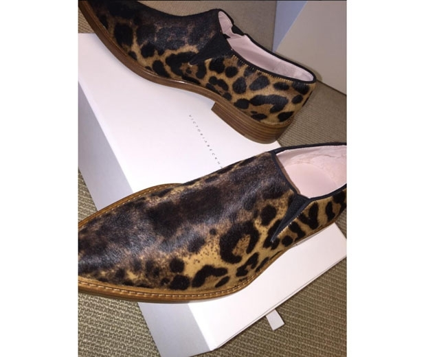 Victoria Beckham shares a snap of her to-die-for leopard print clown shoes