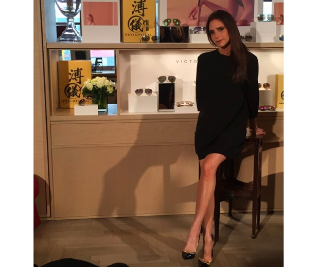 Victoria Beckham working another one of her classic LBDs in Hong Kong