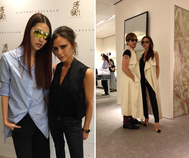 victoria beckham in skinny jeans and a long waistcoat